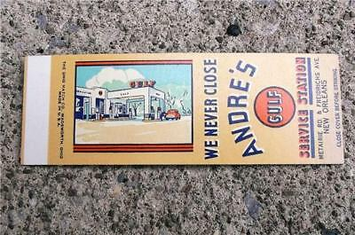 Rare Vintage Matchbook Flat Andre's Gulf Service Station ~ New Orleans Louisiana