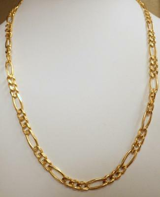 "14K Yellow GOLD 6mm Figaro Italy Chain Necklace 20"" Long 29.725 GRAMS Hallmark"