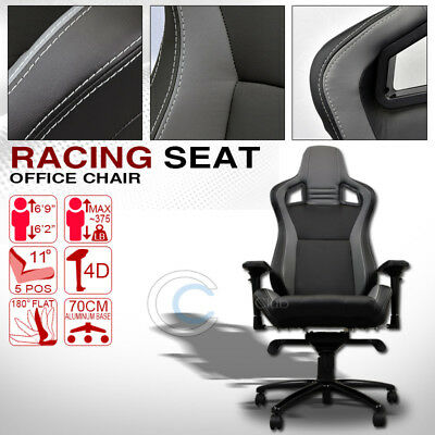 Mu Racing Style Pvc Leather Bucket Reclinable Seat Chair Black/grey Stitches C38