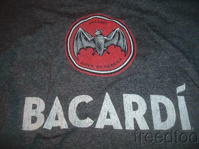 Worn Once BACARDI T shirt Adult Large Dark Gray w/White Letters Red Bacardi Logo