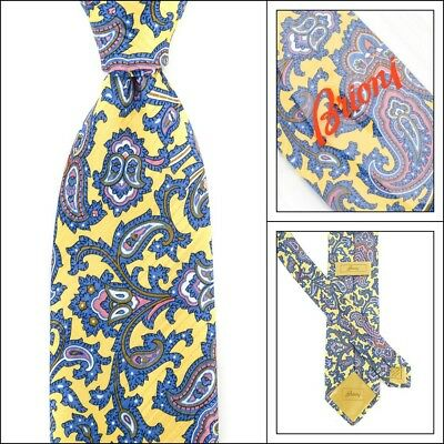 "New BRIONI Yellow Gold Paisley Floral 3.25"" Hand Made Woven Silk Neck Tie NWT"