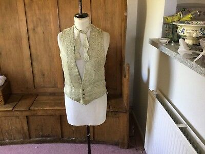 Hall Brothers Oxford - man's cream lurex brocade waistcoat and matching bow tie