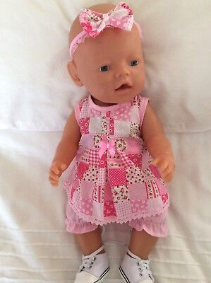 """Doll Clothes to fit 17"""" Baby Born doll ~ 3 Piece Set. :: Pink Patchwork"""