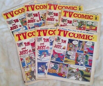 TV Comic (x 7) Jan - Feb 1970. Doctor Who/The Avengers. Good comics