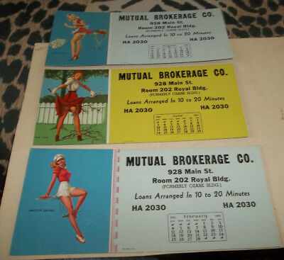 3 Vtg 1951 Pin Up Pinup Art Advertising Calendar Blotters - George Petty