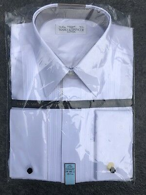 "Mens Formal / Dress White Shirt M&S Size 15.5"" Brand New In Packaging"