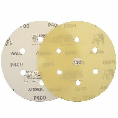 "Mirka Gold Hook-It DA Sanding Discs � 150mm 6"" 400 Grit 6+1 Hole Sander Pads"