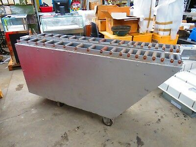 Battery powered furnace conveyor on wheels roller track
