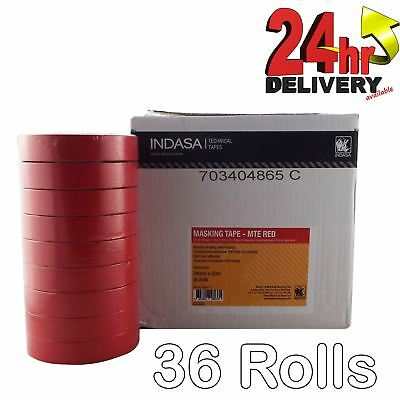 Indasa Red Masking Tape Low Bake High Temp Tack 24mm x 50mm 36 Adhesive rolls