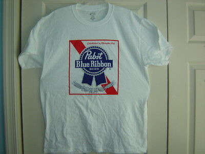 Pabst Blue Ribbon PBR Milwaukee 1844 White T Shirt 100% Cotton Mens L Large NEW