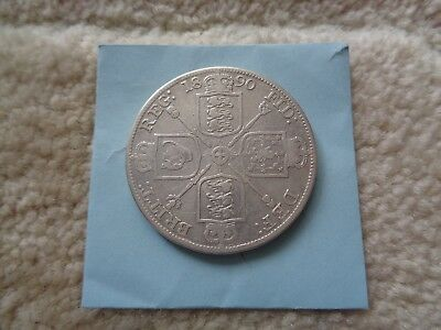 1890 Great Britain Double Florin large Silver coin Queen Victoria