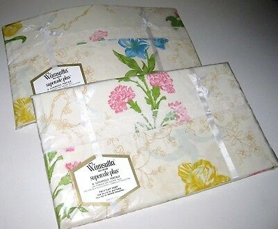 NIP Lot of 2 Vintage WAMSUTTA Supercale Floral TWIN Size Flat Sheets Made in USA