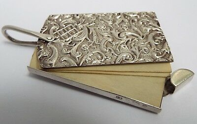 Superb Rare Antique 1900 Solid Sterling Silver Chatelaine Aide Memoire Note Book