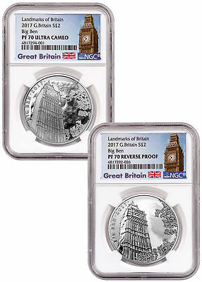 2017 Great Britain Landmarks 1 oz Silver Big Ben 2-Coin Set NGC PF70 UC SKU53765