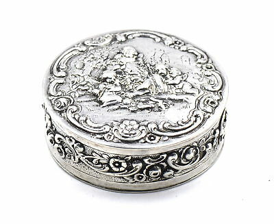 Antique Repousse Playing Cherubs Snuff Pill Box Scrolls Floral German 800 Silver