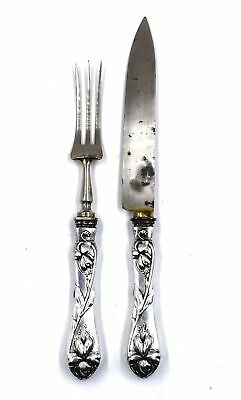 Antique Art Nouveau Poppy Flower Carving Set French 800 Silver Russian Import