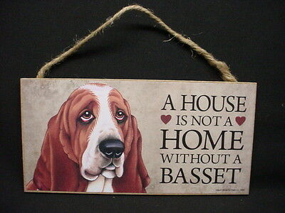 BASSET A House Is Not A Home DOG wood SIGN wall HANGING PLAQUE puppy USA MADE