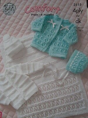 King Cole 3115 Baby's Set & Blanket 4 Ply/DK Knitting Pattern Sizes 12-18""