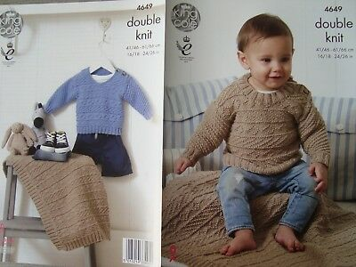 """King Cole 4649 Baby/Child's Sweaters & Blanket DK Knitting Pattern Sizes 16-26"""""""