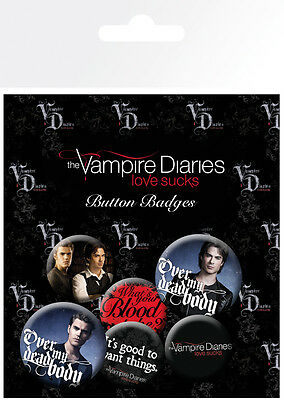Button Badge 6er Pack VAMPIRE DIARIES - Love Sucks 2x32mm & 4x25mm NEU BP636