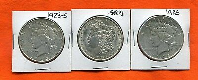 (Qty - 3 Different ~ United States Silver Dollars ~ Circulated ~ Morgan & Peace