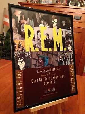 "Big 11X14 Framed R.e.m. Rem ""fables Of The Reconstruction"" Lp Album Cd Promo Ad"