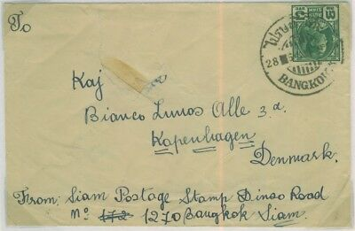 1932 Cover to Denmark from Bangkok franked with 3ST