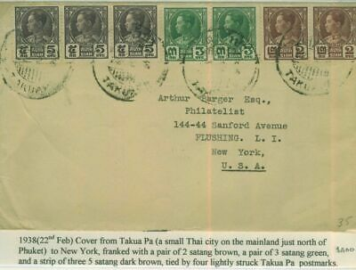 1938 Cover from Takua Pa to New York
