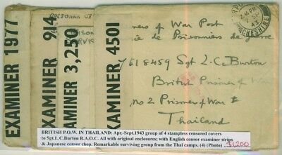 British POW in Thailand: 4 stampless censored covers to Sgt. I.C