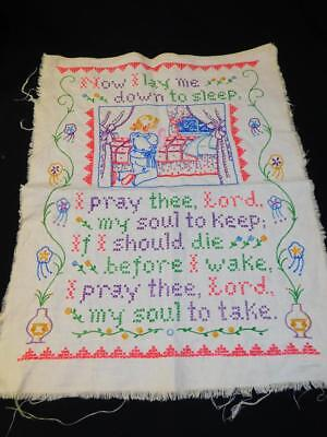Vintage COMPLETED Cross Stitch LINEN SAMPLER Childs PRAYER Now I Lay Me Down