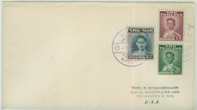 1947 Rama 9 1st and 2nd issues on cover to USA with rare Bangkok