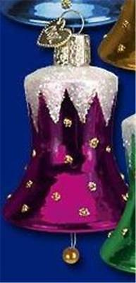 Fuchsia Pink Snow-Capped Bell Old World Christmas Glass Ornament Nwt 38014