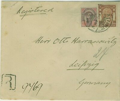 "1906 Registered cover with ""Bangkok2 15/1/06"" to Germany"