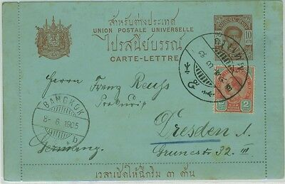 1905 10 atts Brown on blue paper letter card to Germany.
