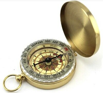 High Quality Brass Pocket Compass With Illuminated Face Boy Scouts Camping