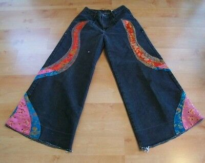 Vtg Rare 90's JNCO Asian BROCADE Solid STATE Swirl CLUB KID Wide LEG Jeans 9!!!
