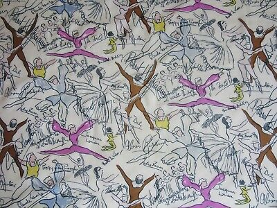 JACQMAR 1940's ROYAL BALLET with SIGNATURES Arnold Lever silk scarf  84 x 90cm