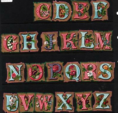 22 of 26 Victorian embossed Die Cut Relief Scraps of ABC alphabet. No A B I & T