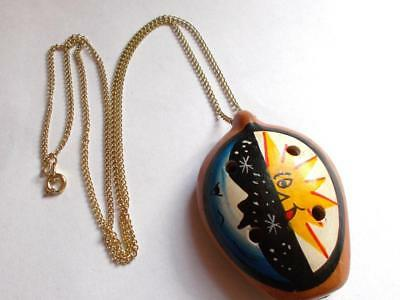 Vintage 1960'S Ceramic Hand Painted Pomander Night & Day Pendant Necklace Chain