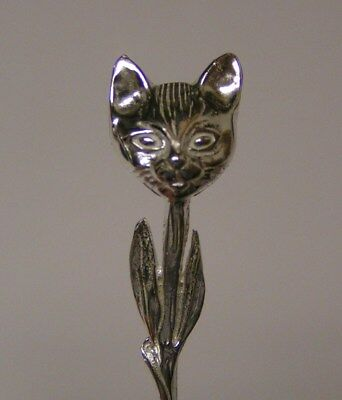 Sterling Silver Salt Spoon  (  Cat Head )
