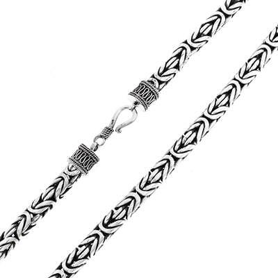 8MM MENS BYZANTINE HANDMADE HEAVY 925 STERLING SILVER CHAIN necklace, 18-30""