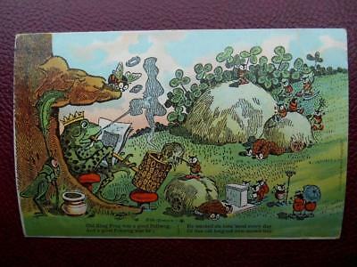 Artist GUS DIRKS Anthropomorphic King Frog Mushroom Ladybirds Nursery Rhyme 1910