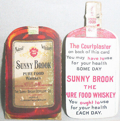 -Rare- 1908 -Sunny Brook Whiskey- Vintage Pre-Pro 2-Pc Advertising Trade Card