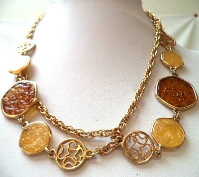 "Stunning Vintage Estate Signed Sarah Cov Gold Tone Brown 38"" Necklace!!!! 9758V"