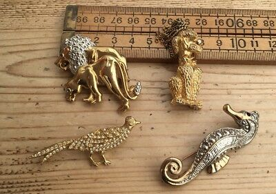Four Vintage Animal Brooches, Dog, Pheasant Etc