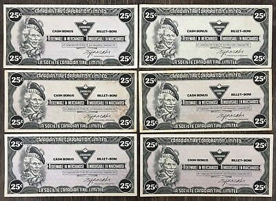Lot of 6x 1985 Canadian Tire 25 Cents Notes ***Great Condition*** CTC-S6-D