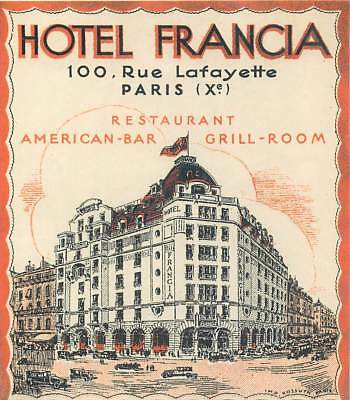 Paris France Hotel Francia Old Baggage Luggage Label