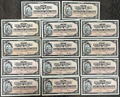 Lot of 14x 1974 Canadian Tire 10 Cents Notes - CTC-S4-C-GN