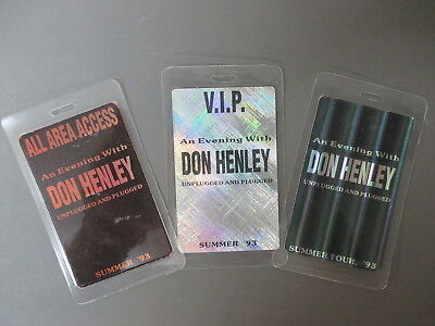 Don Henley backstage passes THREE Laminated Summer '93 Eagles FOIL PAPER!