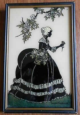 Vintage Reliance Old Fashioned Garden Silhouette Picture